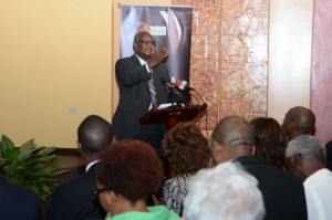 Executive Chairman of Conrad Douglas and Associates, Dr. Conrad Douglas, presenting findings on the limestone industry, at a recent stakeholder symposium held at the JAMPRO business auditorium in New Kingston. (Photo: Jamaica Information Service)