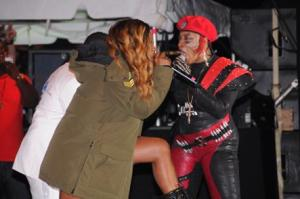 Macka Diamond (right) and Lady Saw in a heated battle onstage at Sting 2013. (Photo: Lionel Rookwood)