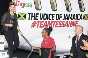 Tessanne gets a warm welcome at Kingston's Norman Manley International Airport. (Photo: Bryan Cummings/Jamaica Observer)