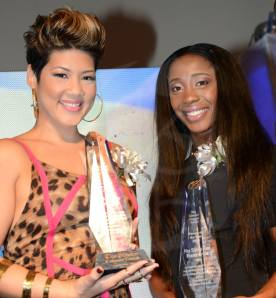 Tessanne Chin (left) and Shelly-Ann Fraser-Pryce are joint winners of the Gleaner's Person of the Year Award. Two wonderful Jamaican women! (Photo: Gleaner)