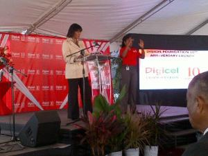 Prime Minister Portia Simpson Miller speaks at the Digicel Foundation's tenth anniversary celebration at Stella Maris Foundation today. (Photo: Jean Lowrie-Chin/Twitter)
