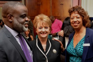 President of JAMPRO, Dianne Edwards (right), shares a moment with Chairman of the Logistics and Investment Task Force in the Ministry of Industry, Investment and Commerce, Dr. Eric Deans; and Executive Director of the American Chamber of Commerce of Jamaica, Betty Stockhausen, at a function to launch of a two-day logistics hub symposium for the local business community on Thursday, January 9, at JAMPRO's head office in New Kingston. The symposium will be held on January 21-22. (Photo: Jamaica Information Service)