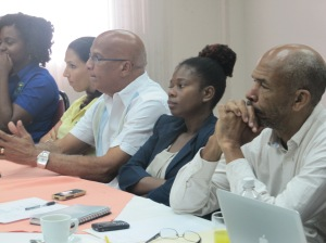 Environmentalists listen closely at the Panos Caribbean dialogue.
