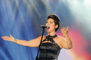 Tessanne Chin performs at the Shaggy and Friends concert at Jamaica House in Kingston earlier this year. (Photo: Kenyon Hemans)