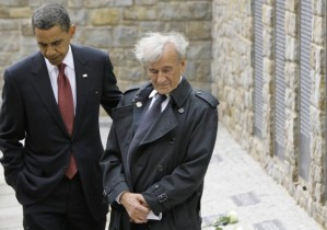 "President Obama and Elie Wiesel at the memorial site for the ""Kleines Lager"" (Little Camp) inside the Buchenwald concentration camp near Germany where Wiesel was imprisoned as a child. (Markus Schreiber/AP)"