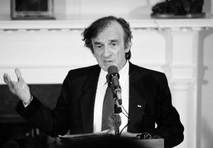 In a speech at a 1985 White House ceremony, Elie Wiesel pleaded with President Ronald Reagan to abandon a scheduled stop at a military cemetery during his coming visit to Germany. (AP)