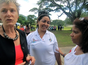 (l-r) Dr. Marjan de Bruin and Yolanda Paul of UWI HARP with Noelle Ingledew on World AIDS Day last year.