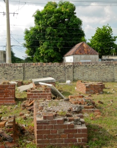 Tumbling down: Part of the older section of the cemetery. As you can see though, the brick perimeter wall is in good condition.