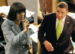 Prime Minister Portia Simpson Miller and Opposition Leader Andrew Holness in Parliament yesterday. (Photo: Jamaica Observer)