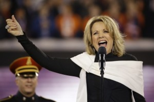 "Renee Fleming singing ""The Star-Spangled Banner"" at the Superbowl last Sunday, February 2. (Photo: AP)"