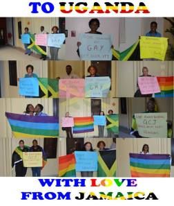 Quality of Citizenship Jamaica organized this demonstration in solidarity with LGBT Ugandans just before its anti-homosexuality bill was passed. This was at the University of the West Indies' Law Faculty.