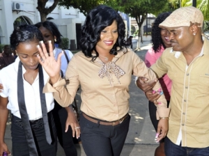 A happy Shanique Myrie leaves the Supreme Court after hearing the Caribbean Court of Justice ruling in her case. – Norman Grindley/Gleaner