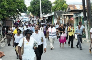 Residents of West Kingston march for peace over the weekend. (Photo: Joseph Wellington/Jamaica Observer)