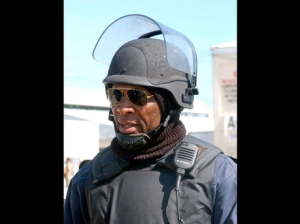 The fearsome Reneto Adams in full battle gear. Some Jamaicans actually believe he should be our National Security Minister. If that happened I would be on the first plane out of here!