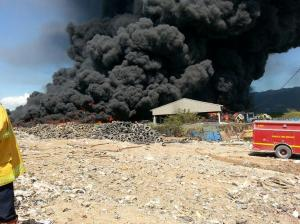 Tyres on fire at Riverton City dump.