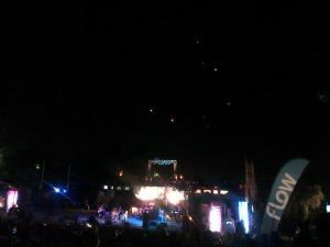 "This tweet was sent with a photo of the acoustic concert: ""Lanterns making their way to the sky in recognition of #EarthHourJA while #Nature brings ""world peace"" #greatmoment """