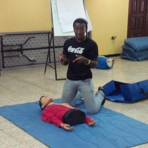 JN Foundation volunteer Neville Charlton tries to figure out what to do next during first aid training over the weekend.