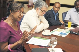 Conservator of forests/head of the Forestry Department Marilyn Headley. With her are (from second left) managing director of the Water Resources Authority Basil Fernandez; deputy director of Meteorological Service of Jamaica Evan Thompson; and Adrian Shaw, also of the Met Service. (Photo: Naphtali Junior/Jamaica Observer)