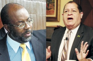 "Government PAAC committee member Fitz Jackson (left) is objecting to JET's request to speak on Goat Islands; Opposition member Audley Shaw (right) says ""We have a duty to take into consideration the concerns of the public."" But isn't it all politics, really?"