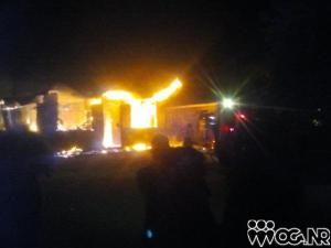 The Liberty Hill Primary School in Dumbarton, St. Ann, on fire early Monday morning. The police now suspect arson. (Photo: On The Ground News Reports)
