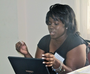 Jamaica Observer's Environment Editor Kimone Thompson at a recent biodiversity workshop organized by Panos Caribbean. (My photo)