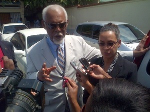 Defence attorneys KD Knight (left) and Deborah Martin, for former energy junior minister Kern Spencer and his personal assistant Coleen Wright after the court ruled Monday morning that there was no case for the two to answer. (Photo: Paul Henry/Jamaica Observer)