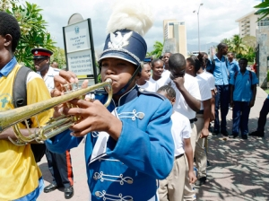 Youngsters take part in the 2014 Peace Day March and Concert at Emancipation Park in New Kingston yesterday. (Photo: Rudolph Brown/Gleaner)