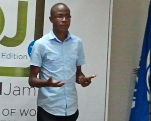 Tyrone Wilson motivates young tech entrepreneurs at the recent Digital Jam 3.0 (Caribbean Edition) at the World Bank offices in Kingston. (My photo)