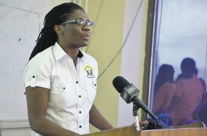 Projects Abroad Jamaica Country Director Dr Bridgette Barrett speaking about the Belle Haven Centre which is to be built in Central Manchester for children and women living with HIV/AIDS at a Rotaract Club meeting at the Northern Caribbean University last Wednesday. (PHOTO: PROJECTS ABROAD)