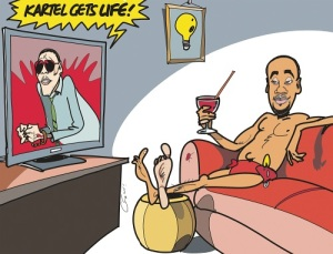 The Sunday Observer's editorial cartoon shows former State Minister Kern Spencer relaxing on the couch with a cocktail in hand while dancehall deejay Vybz Kartel is sentenced for life.