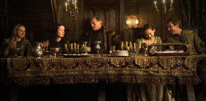 This wedding feast scene at the end of last season ended in a bloodbath. It reminded me of the final scene of Hamlet, with some major characters littered about the set, and unfortunately not making it to Season 4.
