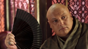 Lord Varys, the eunuch who knows everything about everyone at court, and is good at putting two and two together. Love him!