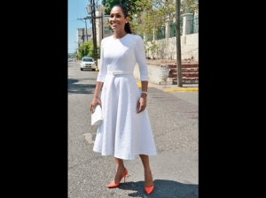 All dolled up for the opening of Parliament: Youth and Culture Minister Lisa Hanna. When the Parliamentarians walk to Gordon House for the official opening of the new parliamentary year, our political leaders dress up for the occasion. (Photo: Ian Allen/Gleaner)