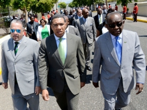Arriving for the state opening of Parliament: Opposition members Senator Tom Tavares-Finson (I wish he would ditch those silly sunglasses), Opposition Leader Andrew Holness and National Security Spokesman Derrick Smith. (Photo: Ian Allen/Gleaner)