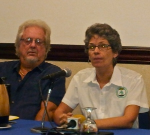Diana McCaulay of the Jamaica Environment Trust makes a point while Lee Issa listens.