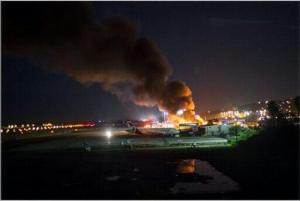Fire at Sangster International Airport in Montego Bay on Wednesday night. (Photo: Twitter)