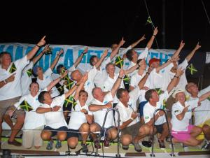 """The crew of """"Jamaica Get All Right"""" does a Usain Bolt pose… To The Worl' …. from the Clipper Race website, where there is a gorgeous photo gallery."""