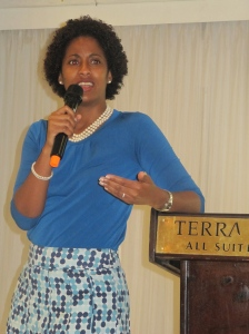 Senator Imani Duncan-Price speaking at a recent meeting of the 51% Coalition. (My photo)