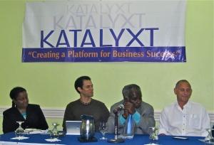 The breakfast panel (l-r): Winsome Minott, Kieran King, Ralston Hyman and John Mahfood.