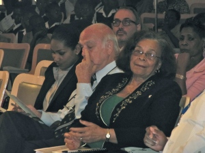Chair of Jamaica Heritage Clubs Dotsie Gordon (right) smiles, while Chairman of the Jamaica National Heritage Trust Ainsley Henriques and Minister of Youth and Culture Lisa Hanna seem deep in thought.
