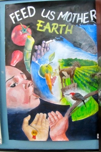 Here is one of the many beautiful Earth Day posters on display, from a school competition.