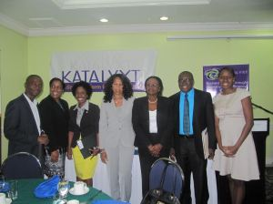 Members of the Katalyxt team at the launch (l-r): Bruce Scott, Winsome Minott, Shelly-Ann Henry, Chief Marketing Officer at EXIM Bank of Jamaica, Dr. Maureen Denton, Cliff Hughes and Mariame McIntosh-Robinson.