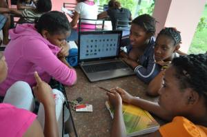 Teens at the I'm Glad I'm a Girl Foundation's first Symposium and Tech Camp at Mary Seacole Hall, University of the West Indies yesterday. (Photo: Facebook)