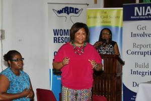 Marcia Forbes speaks at a recent forum on Gender and Corruption sponsored by the Women's Resource and Outreach Centre, National Integrity Action and the Jamaica Civil Society Coalition. (Photo: Facebook)