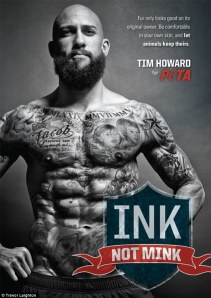 #1 in the Beard and Tattoos stakes: Mr. Tim Howard, Everton FC and U.S. goalie. This was a photo campaign he did for PETA.