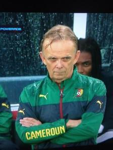 There were many interpretations on Twitter of the look on Volker Finke's face as he stood in the pouring rain to watch his team's loss to Mexico.