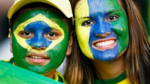 Brazil fans just about avoiding eyes and mouth.