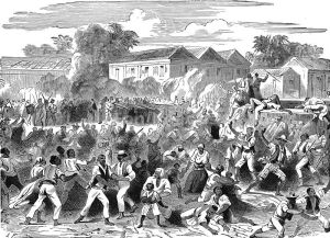 "Original caption: ""Jamaica Insurrection"" depicts a scene from the Morant Bay rebellion in 1865. Image published: 1901. Human rights activists are much derided in contemporary Jamaica. But wasn't Paul Bogle one in 1865?"