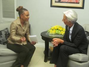 Jamaican broadcast journalist Dionne Jackson Miller (left) interviews IMF boss Christine Lagarde in Kingston last week.
