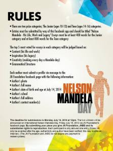 The Mandela Essay Competition from JN Foundation. DEADLINE IS MONDAY, JULY 14!